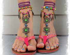 BIKINI BAREFOOT Sandals Toe Anklet LEAF Jewelry Crochet Sandals Garden Wedding Magenta soleless Shoes Beach Foot Jewelry Yellow Pink GPyoga