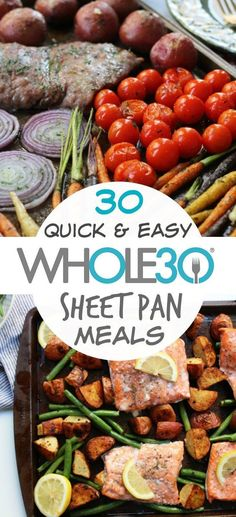 whole 30 recipes 30 sheet pan recipes so you spend less time cooking. sheet pan meals that are easy meal prep, quick clean up, and family friendly healthy recipes. Includes and Paleo sheet pan fish, chicken, beef and breakfast recipes. via paleobailey Paleo Snack, Paleo Meal Prep, Whole30 Dinner Recipes, Easy Meal Prep, Paleo Diet, Paleo Food, Meal Preparation, Raw Food, Easy Meal Ideas