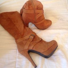 """Suede brow boots! Only worn once, 4""""tall Comfortable and tall! Ashtyn Shoes Heeled Boots"""