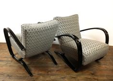 """Pair of 1940s lounge armchairs designed by the architect Jindrich Halabala Model """"Easy chair"""" H269 Manufactured by UP Zavody Brno Origin: Czech Republic"""