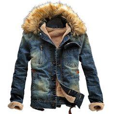 Мужчины джинсовая куртка Jaqueta джинсы Masculina зима меховым воротником шерсть джинсовая куртка шерсть толстые линии меховой одежды джинсовая куртка Jaqueta Masculina