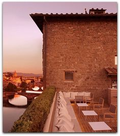 LA TERRAZZA, FLORENCE Recently refurbished by Florentine architect Michele Bönan, the rooftop bar at the Ferragamo-owned Continentale hotel is a chic spot to sip Italian-style aperitifs while gazing at the Ponte Vecchio and Brunelleschi's Duomo. The polished new scheme was inspired by the Italian film-and-fashion scene during the 1950s and includes a fireplace and heated benches for cool summer nights and year-round use.