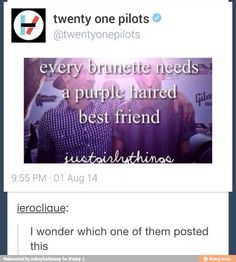 Holy crap I have to send this to my bff (I have purple hair)