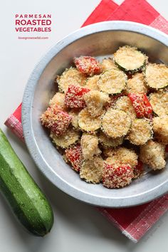 Parmesan Roasted Vegetables Ingredients: 4 cups vegetables, chopped into bite-size pieces, 1 ½ cups panko breadcrumbs, 3 tablespoons grated Parmesan cheese, ½ teaspoon paprika, ½ teaspoon garlic powder, ¼ cup Italian dressing