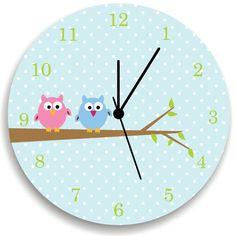 Girls Bedroom Wall Clock, Owls on Tree, Nursery Room Decor