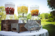 Yellow Themed Barn Wedding Not flavored water, but these jars would be cute for serving drinks at the wedding Rustic Wedding, Wedding Reception, Our Wedding, Dream Wedding, Wedding Country, Wedding Ideas, Drink Station Wedding, Wedding Shower Drinks, Rustic Outside Wedding
