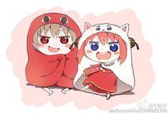 Umaru-chan x Gintama Okita and Kagura. Anime e mangá. Anime Chibi, Art Anime, Manga Anime, Chibi Couple, Anime Love Couple, Cute Anime Couples, Anime Crossover, Umaru, Gintama