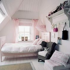 French girls bedroom - pink, black, white, grey. Really like the shelf! Tried hunting original source, but this is as close as I got: http://www.housetohome.co.uk/room-idea/picture/girls-bedrooms-20-of-the-best/more/17