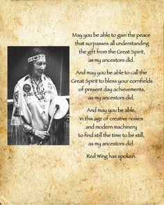 Wampanoag - Narragansett Thanskgiving prayer from Princess Red Wing member of the Narragansett/Wampanoag nations See http://manyhoops.com