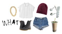 """talk to me baby"" by chloee013 ❤ liked on Polyvore featuring Monki, H&M, Dr. Martens and Kenneth Jay Lane"