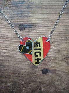 Vintage Reclaimed Upcycled Tin Heart Necklace by hoitytoitydesigns,