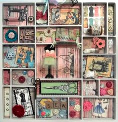 New ideas sewing room vintage shadow box My Sewing Room, Sewing Art, Sewing Rooms, Fun Crafts, Paper Crafts, Sewing Projects, Craft Projects, Shadow Box Art, Vintage Sewing Notions