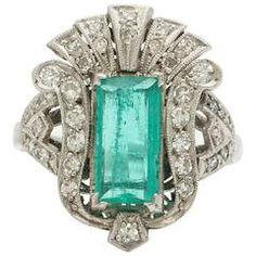 1930 Emerald Diamond Platinum Večeře Style Ring