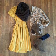 The perfect versatile fall outfit. Wear it to work or wear it to a party!   LuLaRoe Amelia Dress, Leopard Cardigan, Brown Ankle Booties, Navy Tights, Brown Infinity Scarf