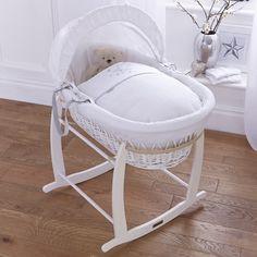 Clair de Lune White Wicker Moses Basket (Stardust White)