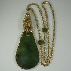 1960's Swoboda Nephrite Jade Buddha Statement Necklace