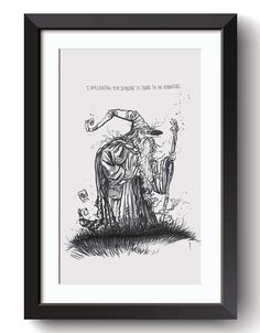 Description: Gandalf the Gray - imagined from the Film and Book series The Lord of the Rings written by J.R.R. Tolkien An 8.5 in by 11 Giclee print of a hand-drawn illustration completed by Billi French This art piece was hand drawn using a Pentel Pocket Brush Printing: Final print is printed on art quality Hammermill Digital cover 80 lb Paper using an Epson SureColor P400 Photo Printer  Shipping Details: Prints are shipped in a flat rigid cardboard mailer sandwiched between two flat…
