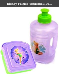 Disney Fairies Tinkerbell Lunch Set (Water Bottle & Sandwich Box). Officially licensed Disney lunch set featuring Tinkerbell! Set includes pull top water bottle and sandwich box. 16 OZ water bottle is spill-proof with pull-up top. Has a convenient built-in handle. Sandwich box measures about 4.75 inches x 4.5 inches by 1.5 inches high. Set is constructed of stain resistant durable materials that will last wash after wash. Dishwasher safe. BPA-free product; food safe.