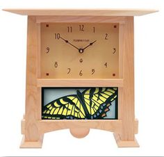 Handmade Schlabaugh and Sons Clock in Cherry Wood with Light Blue Swallowtail Tile by Motawi Tile