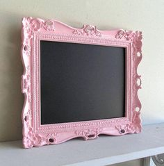 Pink CHALKBOARD w/ Easel Birthday Party Sign Decoration Pink Wedding Nursery Photo Prop Magnetic Ornate Picture Frame from ShugabeeLane on Etsy. #pictureframes #etsy #frames.