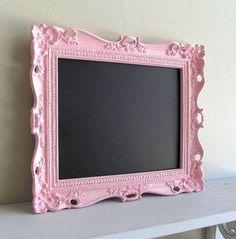 Pink CHALKBOARD w/ Easel Birthday Party Sign Decoration Pink Wedding Nursery Photo Prop Magnetic Ornate Picture Frame from ShugabeeLane on Etsy. #pictureframes #etsy #frames.