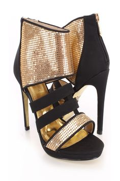 Stand tall in these sophisticated and sexy heels! These single sole heels will dress up any outfit you have in mind. Pair with with your favorite slinky dress and youll sure grab all the attention towards you! It features faux leather, open toe, metal mesh, strappy design, back zipper closure, stitch detailing, smooth lining, and cushioned footbed. Approximately 4 1/2 inch heels.http://www.amiclubwear.com/shoes-heels.html