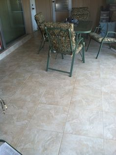 Lanai tiled with slip-resistant tile.