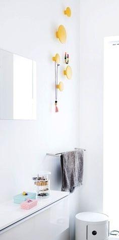 Via Bolig Magasinet | White Bathroom | Kartell Componibili | Yellow Muuto Dots