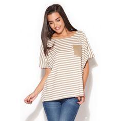 Dámské letní tričko bíle s béžovými pruhy - manozo.cz Shirt Blouses, Shirts, Blouse Models, Lingerie, Beige, One Piece Swimsuit, Blouses For Women, Beautiful Women, Swimsuits