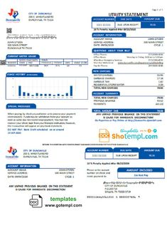 USA City of Duncanville water, sewer, garbage utility bill template