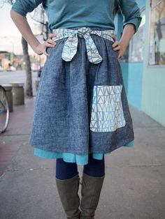 Knitwear designer Ysolda Teague designed this adorable skirt when she visited our shop in 2011. We wrote up the pattern and now can offer it to you! This skirt if a fun and feminine design with a gathered waist and ties. It features a contrasting pocket and ties as well as a peek of lining poking out the bottom. We walk you through how to draft your own pattern, so it is guaranteed to fit any size. Enjoy!