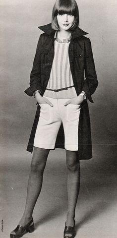 coat - Georges Rech, shorts - Dennet Barry, blouse - Kenzo Jap, shirt - Sonia Rykiel, shoes - Celine, Marie Claire - March 1972, Photographed by Fouli Elia