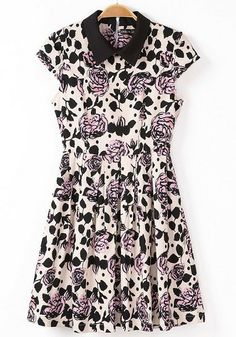 Black Cap Sleeve Contrast Lapel Flowers Dress 0.00