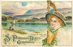 St Patrick's Day, Winsch 1912 No WIN02-1, Schmucker, Woman w/ Harp, Killarney