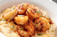 Cajun Shrimp with Cheddar Cheese Grits. Easy, delicious, and impressive!