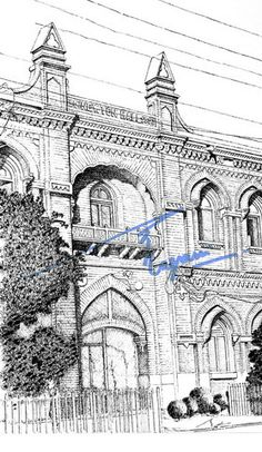 Newton Hall, Lahore.  Pen and ink with 0.1mm rapido  BY: Zehra Naqavi (Architect/artist)  Year: 1997