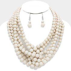 "19"" white beads collar choker bib necklace 1.50"" earrings boho statement"