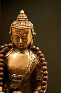 Sakyamuni #Buddha and #Mala. A beautiful copper-on-resin Buddha statue, with newest rosewood mala. photo by Jess Hamilton