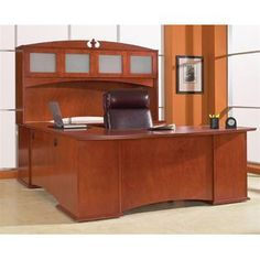 High Point Furniture Affirm Executive U Shaped Office Set in Rouge Mahogany Finish at Sears.com