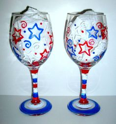 Handpainted Wine Glasses Happy Forth Of July,Patriotic,Red,White and Blue,Stars,Stripe,Independence Day Set of Two   20 oz. on Etsy, $40.00