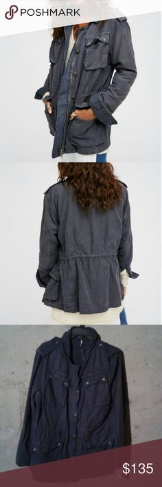Free People Utility Jacket NWT SZ L. Color is black, but I think it looks blue/grey in person. Slightly oversized fit. Zipper and button front. Can be cinched to desired fit. Free People Jackets & Coats Utility Jackets