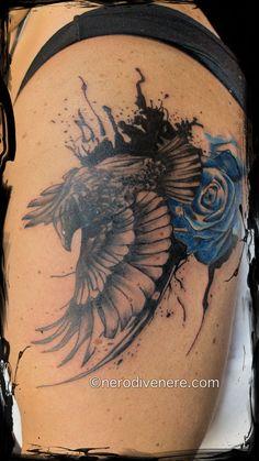 #tattoo #tatuaggio #cheyenne #pen #crow #corvo #rosa #rose #watercolor #trash #polka #blu #blue #ink #inked #suicide