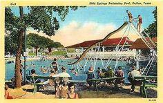 Dallas Texas TX 1938 Kidd Springs Swimming Pool Antique Vintage Linen Postcard