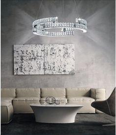 LED Πολύφωτο με ίνοξ κρυστάλλινο φωτιζόμενο σκελετό, για τους λάτρεις του μοντέρνου στυλ. Δείτε όλα τα φωτιστικά LED τελευταίας τεχνολογίας στο LAMPADARI. Dining Table, Diner Table, Dining Room Table