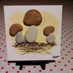 """Tableau """"les champignons"""" galets fait main"""