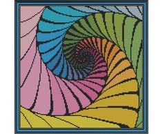 Fractal 1 - Quadruple Nautilus - Counted Cross Stitch Pattern by HornswoggleStore, $5.00 (modern, abstract, geometric)
