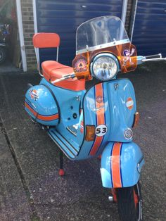 My Vespa PX in Gulf racing colours