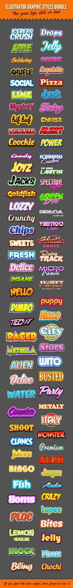 Illustrator Logo Graphic Styles Bundle 1 | GraphicRiver
