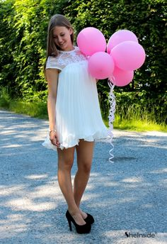 Lace Pleated Chiffon Dress