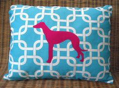 "Appliqued Greyhound Pillow with Aqua & White Lattice Print and Fuchsia Wool Dog, 12"" x 16"" - I got one of these pillows (different print though) as a gift and it's wonderful!!!"
